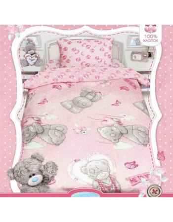 Комплект постельного белья MTY с подарком на розовом